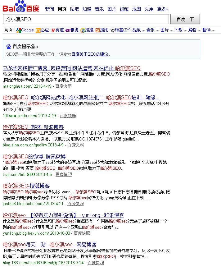 """搜索""""哈尔滨SEO"""",首页出现5个门户博客,你怎么看?"""