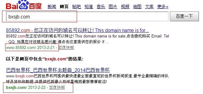 搜索域名时出现其他网站的快照,怎么回事?